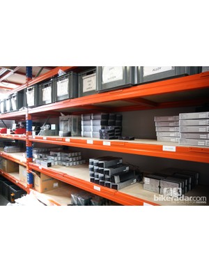 Heaps of boxes of Shimano componentry are kept on hand at any given moment