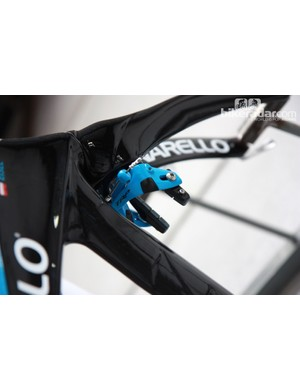 Matching blue TRP brakes for Sky's Pinarello Graal time trial bikes