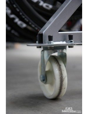 Wheels are stored on rolling carts that make transport and storage easier