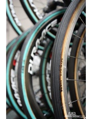 Sky riders mostly used carbon rims at Paris-Roubaix but traditional aluminum box-section wheels are on hand as well