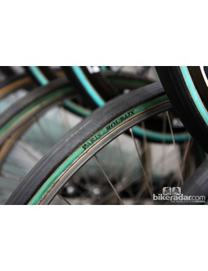 Sky normally use Veloflex tubulars but it switches to fat FMB rubber for the uniquely demanding conditions of Paris-Roubaix