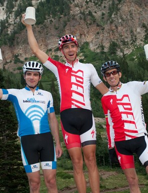Good company on the podium – your author (left) with Specialized's Todd Wells (centre) and Ned Overend