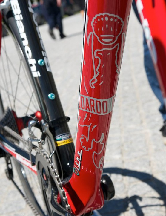 Some neat graphics under the down tube of the bike