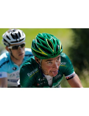 Voeckler, in a break with Devenyns, climbs Col de Richemond during the 10th stage of the 2012 Tour de France