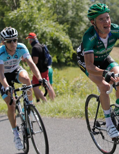 Lest fans believe Voeckler isn't giving it his all, he shows the effort on his face