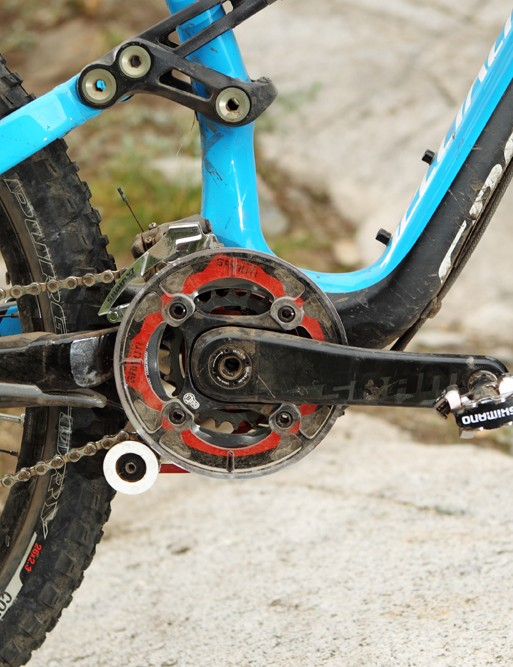 SRAM's double crankset is kept in check thanks to the Gamut dual ring guide