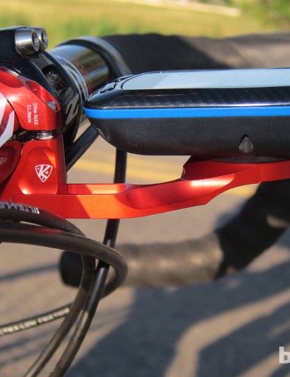 K-Edge's Garmin mount drops the computer much lower in height than the standard stem mount