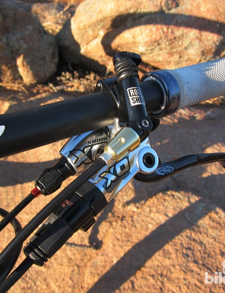 SRAM's gloriously shiny X0 group performed flawlessly during testing - including brakes that we never had to bleed. The standard lock-on grips hold tightly to the bars but they're almost completely devoid of padding
