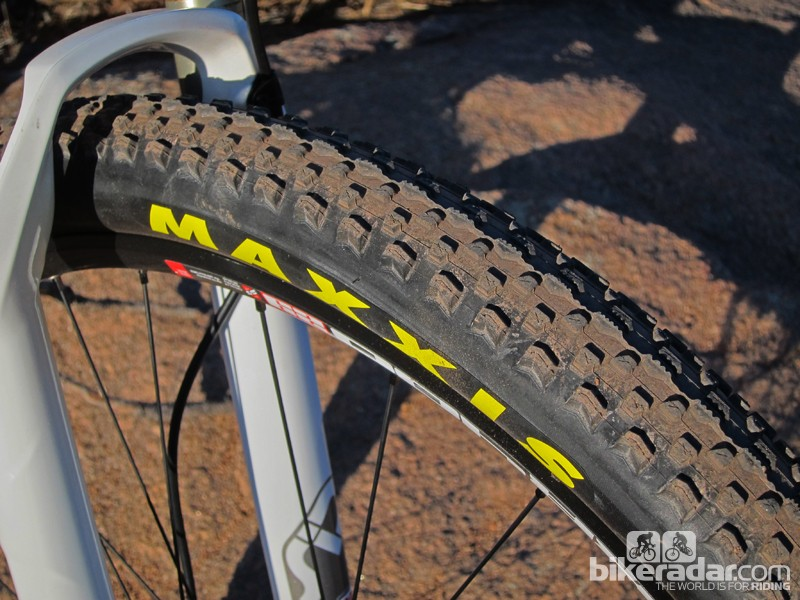 The stock Maxxis Ikon tires are fast rolling and surprisingly grippy but they're nowhere near the stated 2.2in width. Fatter rubber would greatly expand this bike's capabilities