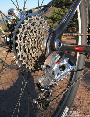 The SRAM XG-1080 cassette is cleverly constructed, using countless press-fit pins to join each cog at its periphery, for improved stiffness relative to a conventional spider