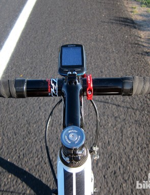 The K-Edge Garmin mount puts the computer head in front of the stem, more in line with your line of sight