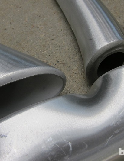 A close-up view of the hydroformed tubes