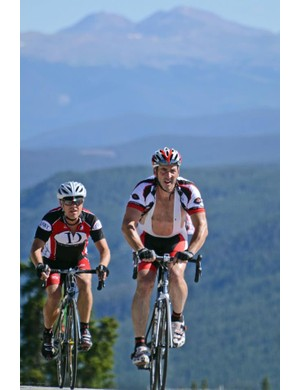 Ska Brewing co-owner Dave Thibodeau and Avery Adam of Avery Brewing climb Loveland Pass