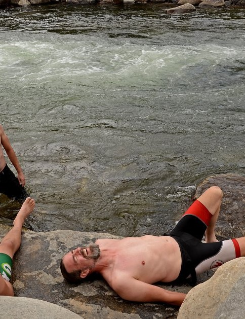 Pro riders recover with compresion, ice baths and protein shakes. Pro brewers recover with cold beer in a river