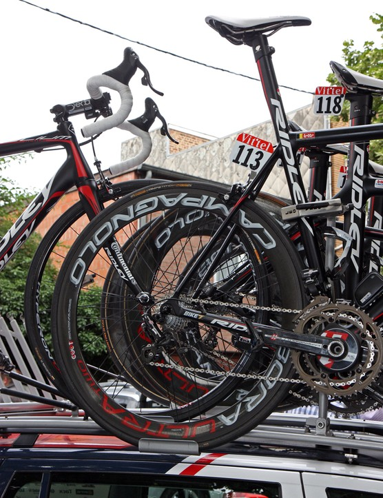 The spindly seat stays on this Lotto-Belisol team Ridley Helium look even smaller against the backdrop of the deep-section Campagnolo Bora Ultra Two wheel.
