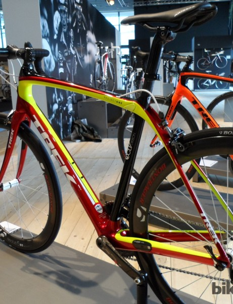 This metallic Belgian flag finish on the new Domane suits the bikes cobble-busting intentions