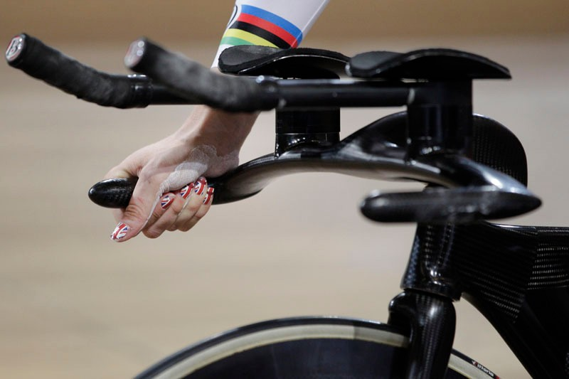 The aero bars on a pursuit bike are set wide to help with stability at high speeds