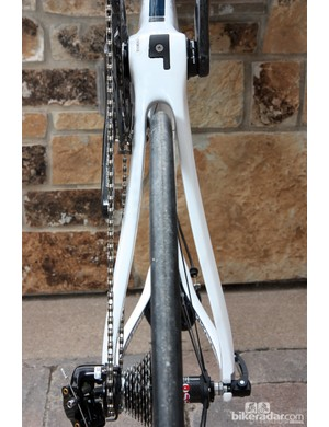 The chain stays are moderately asymmetrical on Diamondback's carbon fiber Podium road frames