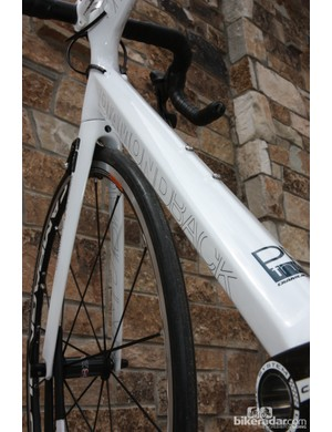 The down tube on the Diamondback Podium is tall and broad for good front triangle torsional stiffness