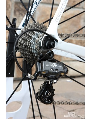 Diamondback will offer three versions of the Podium 6: one with Campagnolo Chorus for US$5,500, one with Shimano Ultegra for US$3,300, and one with Shimano Ultegra Di2 for US$4,500