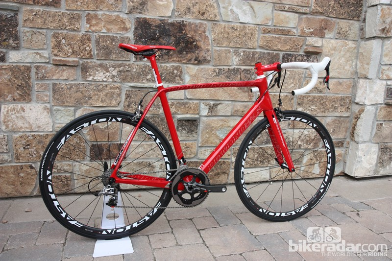 Diamondback's flagship Podium 7 gets the all-red treatment. The top spec will feature a Campagnolo Super Record mechanical group and Easton EC90 SL carbon clincher wheels
