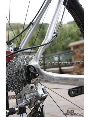 Sleek forged aluminum dropouts are used on Diamondback's Steilacoom cyclo-cross frames