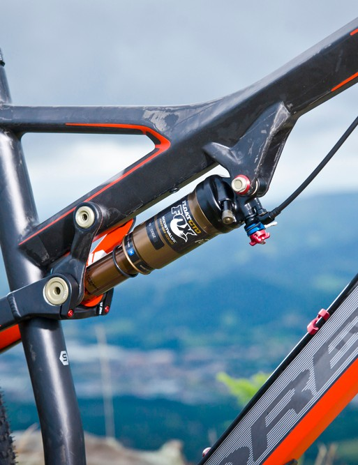 The custom-designed Fox Float CTD Kashima rear shock works wonders, with 105mm of travel and preset adjustments easy to make from the bar