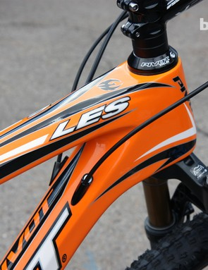 The derailleur housing stops on the new Pivot Les 29er carbon hardtail can be replaced with flush caps when the frame is built up as a singlespeed