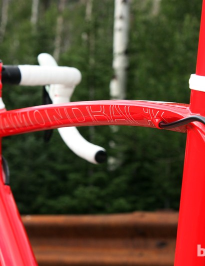 The top tube is wide and subtly curved for good torsional stiffness and comfort. We wished the rear brake cable took a straighter path through the tube, though, as the current setup generates too much drag and rattles on rough pavement