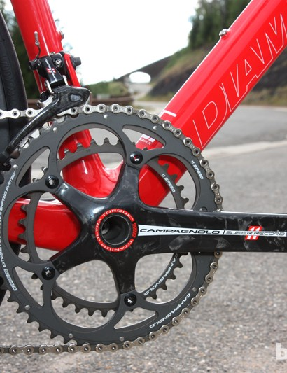 The Campagnolo Super Record crankset features a titanium spindle and standard sized chainrings