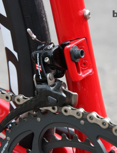 The molded carbon fiber front derailleur mount is replaceable if needed. There's also a separate machined aluminum mount for use with bigger chain rings