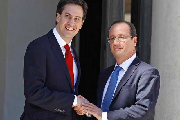 Ed Milliband pressed the flesh of the French President François Hollande last weekend