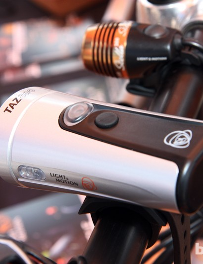 Two buttons atop Light & Motion's new Taz separately control the front and side LED emitters