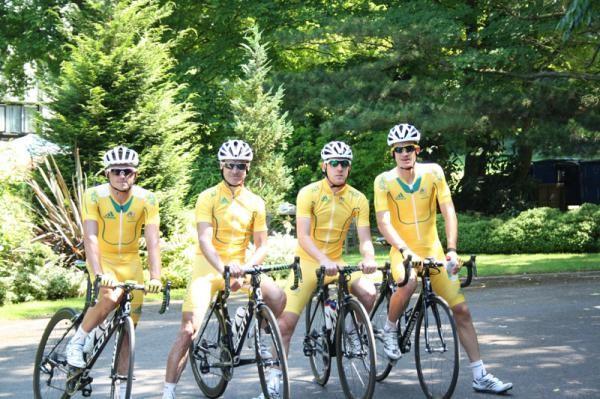 The Australian men's road team: Simon Gerrans, Stuart O'Grady, Matt Goss and Michael Rogers (Evans was still out training)