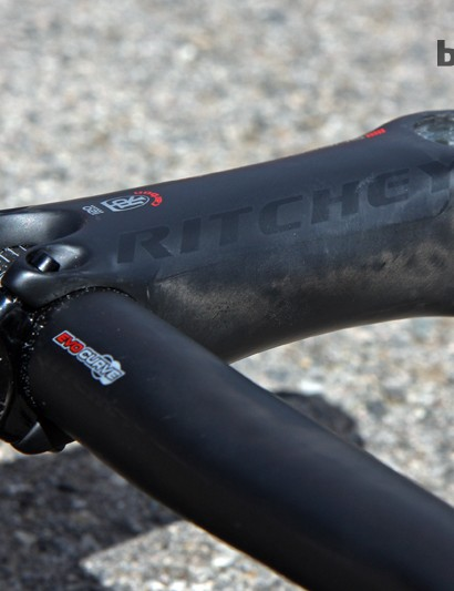 Ritchey claim the new Superlogic molded carbon fiber stem is nearly as stiff as PRO's Vibe Sprint but at roughly half the weight