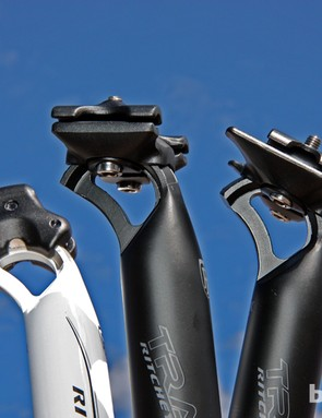 Ritchey replaced their long-running two-bolt seatpost head with a much sleeker version (center) that's lighter and better looking. An even more evolved version (right) is set to land sometime next year with an optional add-on for Selle Italia Monolink compatibility
