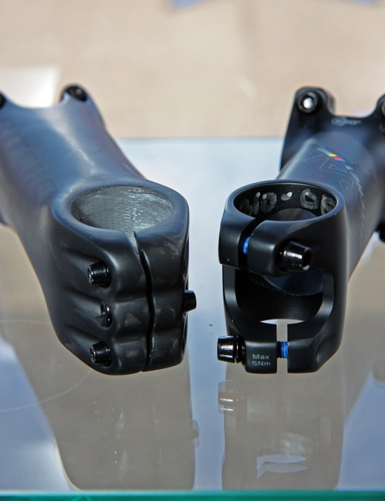 Offset steerer clamp slots on Ritchey's new three-bolt Superlogic stem and the two-bolt Trail stem are intended to reduce stress on carbon tubes