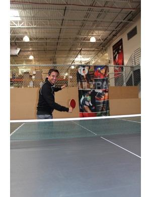 Don't let the boss know, but Pearl Izumi employees have a ping pong table and they're not afraid to use it