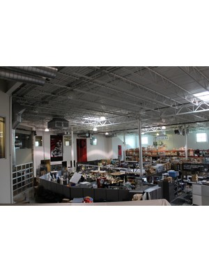 A view of the prototyping area from the second-floor offices