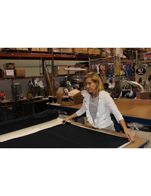 Bybee lays out Thermal Fleece material for Eckmann's 'cross pants