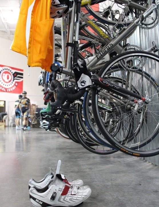 Dozens of bikes pack the Pearl Izumi warehouse