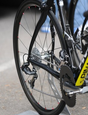A 10 speed Shimano Dura Ace Di2 transmission with wide ratio cassette and longer cage rear mech for the mountains. Note the Sky logo on the hub