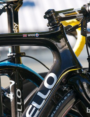 Wiggins's spare bike for the day was labelled with his now universal nickname, and sporting yellow bar tape
