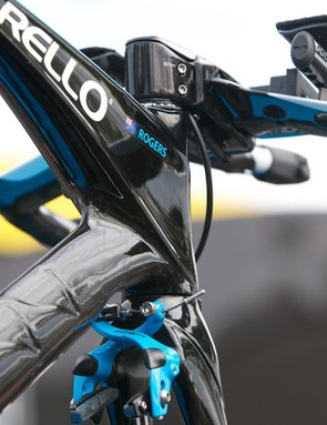 Michael Rogers' Graal showing the down tube sculpting, massive head tube/top tube and front brake