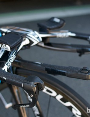 Another Team Sky Graal with Pro's Missile aero bars, Di2 time trial shifters on the extensions and brake levers, plus grip tape on all contact points