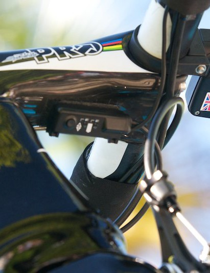 Mark Cavendish has his 'My Knoaky' wooden talisman glued underneath his SRM head unit