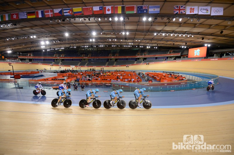 The Belgian pursuit team in formation in the London Olympic velodrome