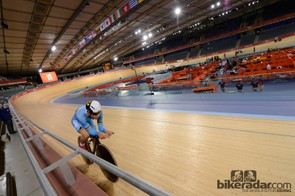 One of the Belgian riders gets a feel for the track on his own