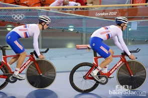 Two of the Russian team pursuit squad: Cervelos and Lightweight front discs