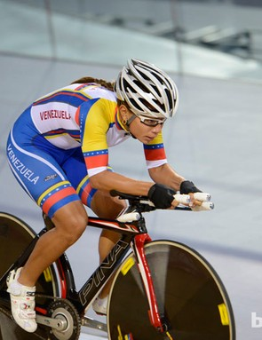 A Venezuelan omnium rider gets a feel for the track